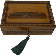 Antique Burr Maple and Tunbridge Ware Table or Desk Box - Rare Scene of Tunbridge Wells