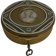 Exquisite French Enamel Jewelry Box - Hand Painted Portrait c.1880