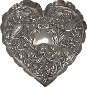 Victorian English Sterling Silver Heart Shaped Dish - London 1898