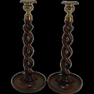 "Towering Antique English Oak & Brass Barley Twist Candlesticks c.1900 - 13"""