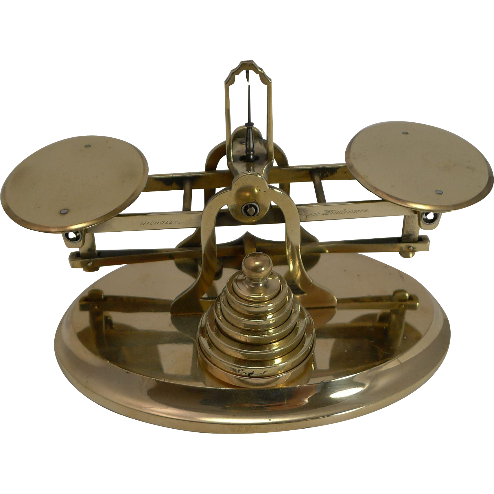 Smart & Elegant Brass Desk Postage or Letter Scale - Signed c.1890