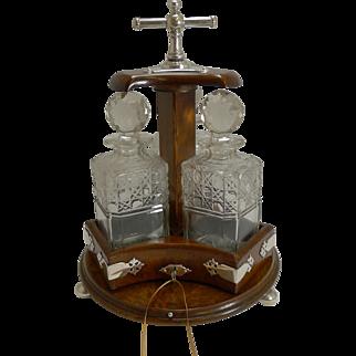 Rare Antique English Revolving / Mechanical Decanter Holder / Tantalus - 1883