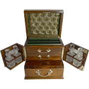 Magnificent Antique English Walnut and Glass Jewelry Box With Perfume Bottles