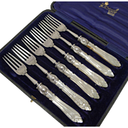 Antique English Sterling Silver & Mother of Pearl Cake or Desert Forks - 1911