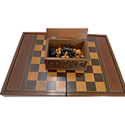 Oversized Games Box - Backgammon, Chess, Checkers c.1890