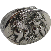 Adorable Antique Sterling Silver Pill Box - Musical Cherubs - 1904
