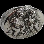 Adorable Antique Sterling Silver Pill Box - Musical Cherubs - 1904
