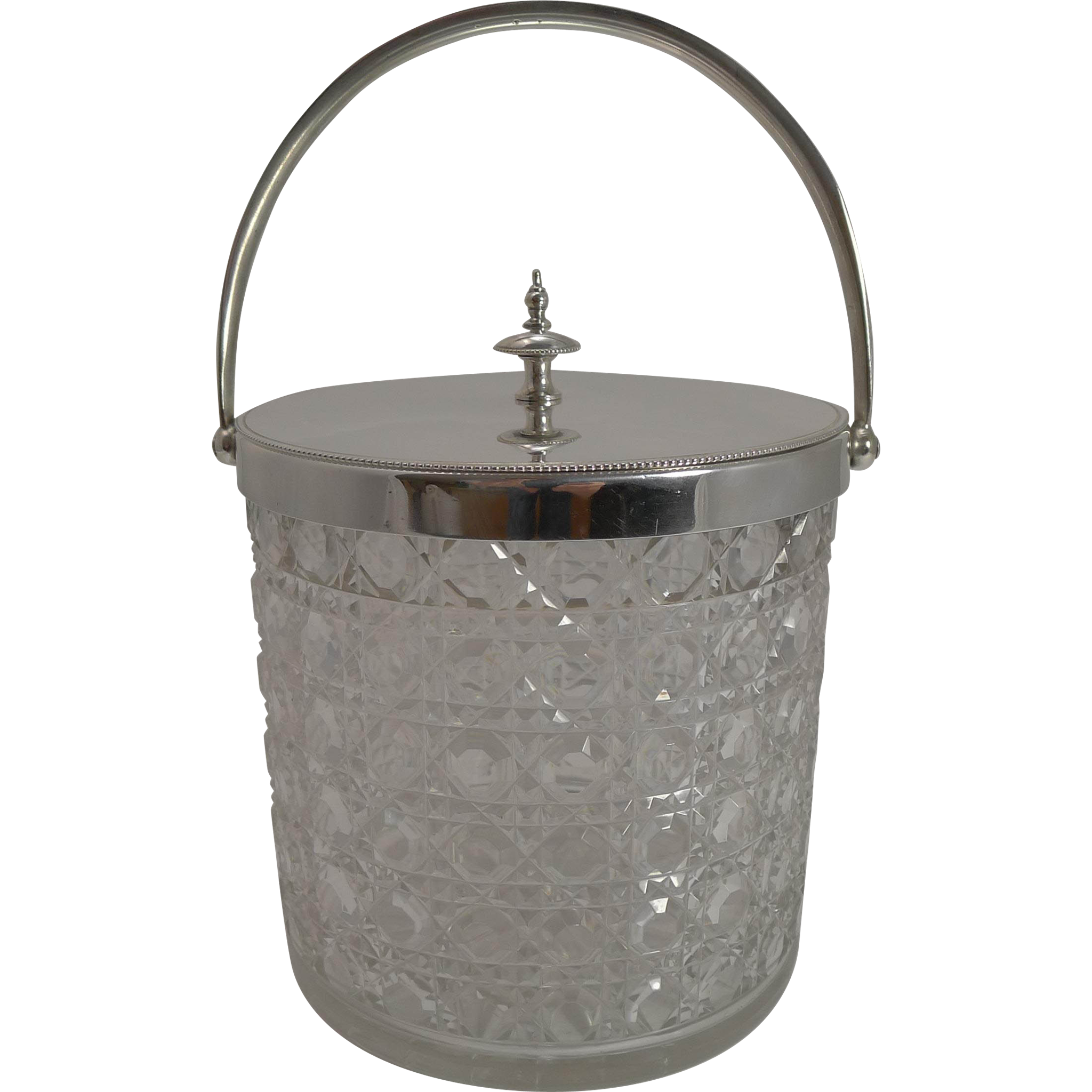 Top Quality Antique English Cut Crystal and Silver Plate Biscuit Box c.1900