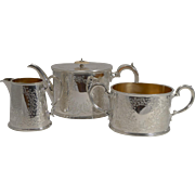 English Edwardian Fern Engraved Tea Set c.1910