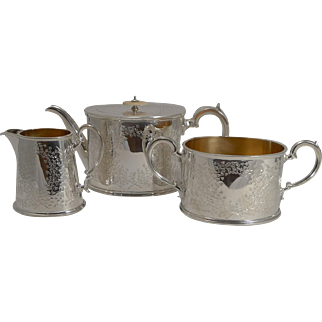 English Edwardian Fern Engraved Tea Set c.1910