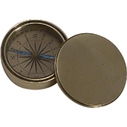 Antique English Pocket Compass in Brass Case c.1880
