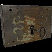 Fabulous Decorative Large Early Lock and Key - Original Paint