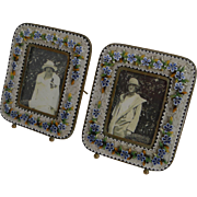 Superb Small Pair Antique Venetian Micro-Mosaic Photograph Frames c.1900