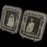 Superb Small Pair Antique Venetian Micro-Mosaic Photograph Frames c.1900