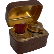 Antique English Travel Inkwell & Nib Wipe c.1890