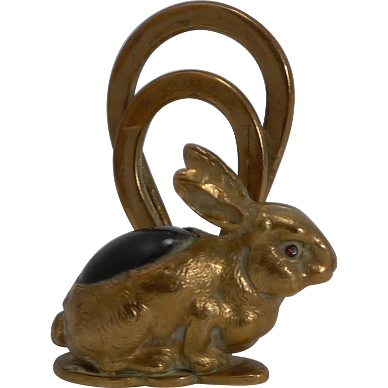 Adorable Little Figural Menu Holder - Rabbit c.1900