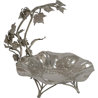 Fine Quality English Silver Plated Grape Dish By Walker and Hall - 1899