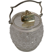 Antique English Cut Crystal and Silver / Gold Plated Biscuit Box / Barrel c.1890