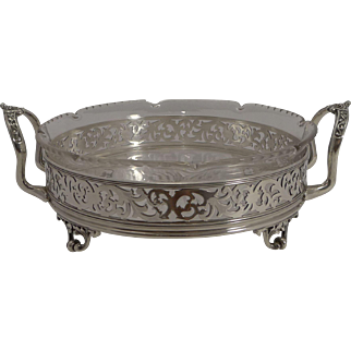 Stunning Antique English Reticulated Silver Plate and Crystal Serving Dish c.1870