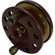 "Large 6"" Antique English Mahogany and Brass Star-back Fishing Reel c.1910"