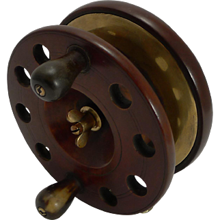"""Large 6"""" Antique English Mahogany and Brass Star-back Fishing Reel c.1910"""