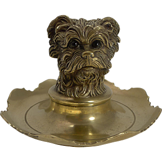 Antique Figural Inkwell - Greyfriars Bobby - Dog - c.1880