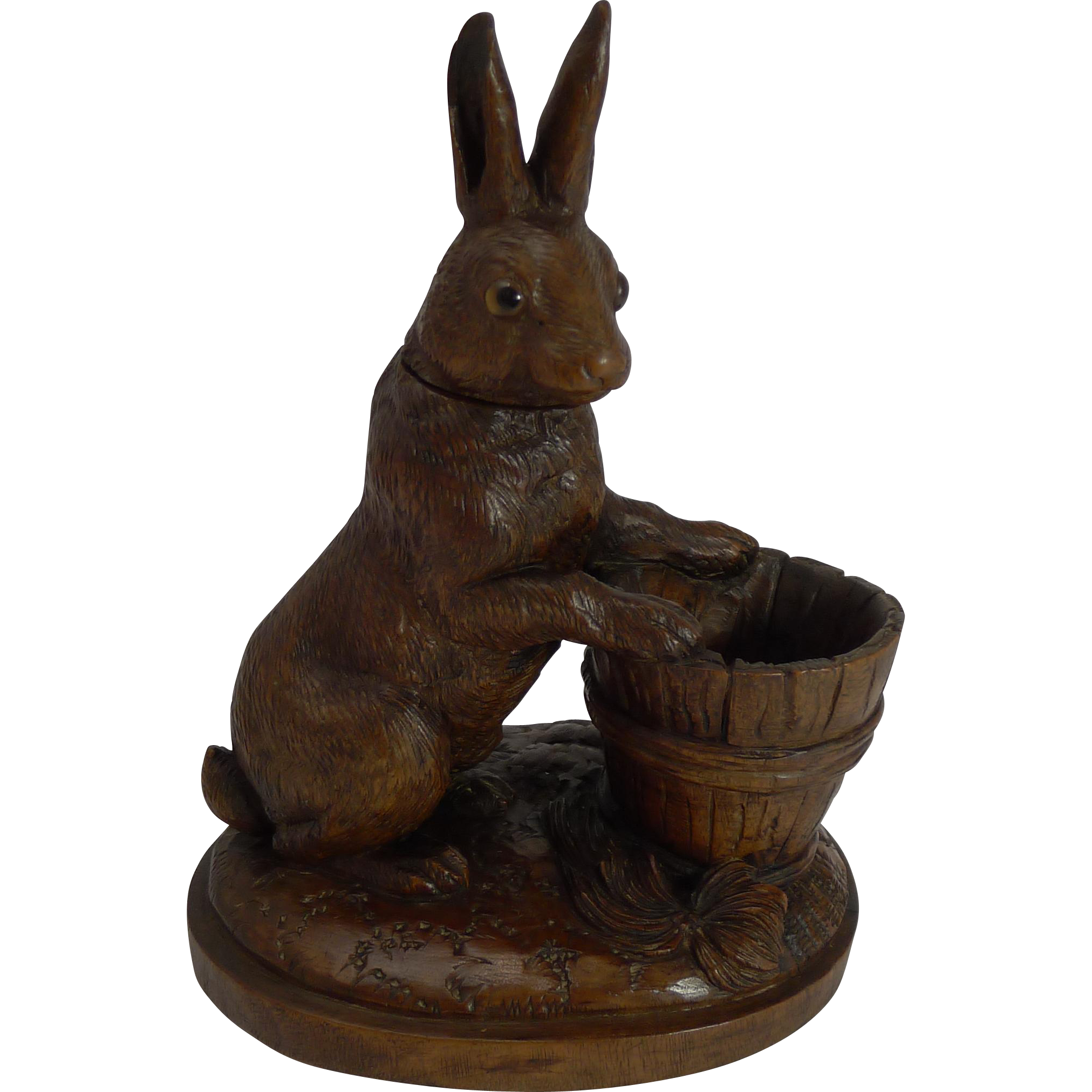 Rare and Adorable Carved Black Forest Figural Inkwell - Rabbit or Hare c.1900