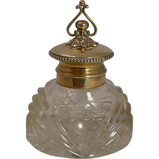Magnificent Antique English Cut Crystal Inkwell c.1860
