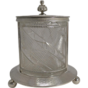 Top Notch Antique English Silver Plate and Cut Crystal Biscuit Box c.1880