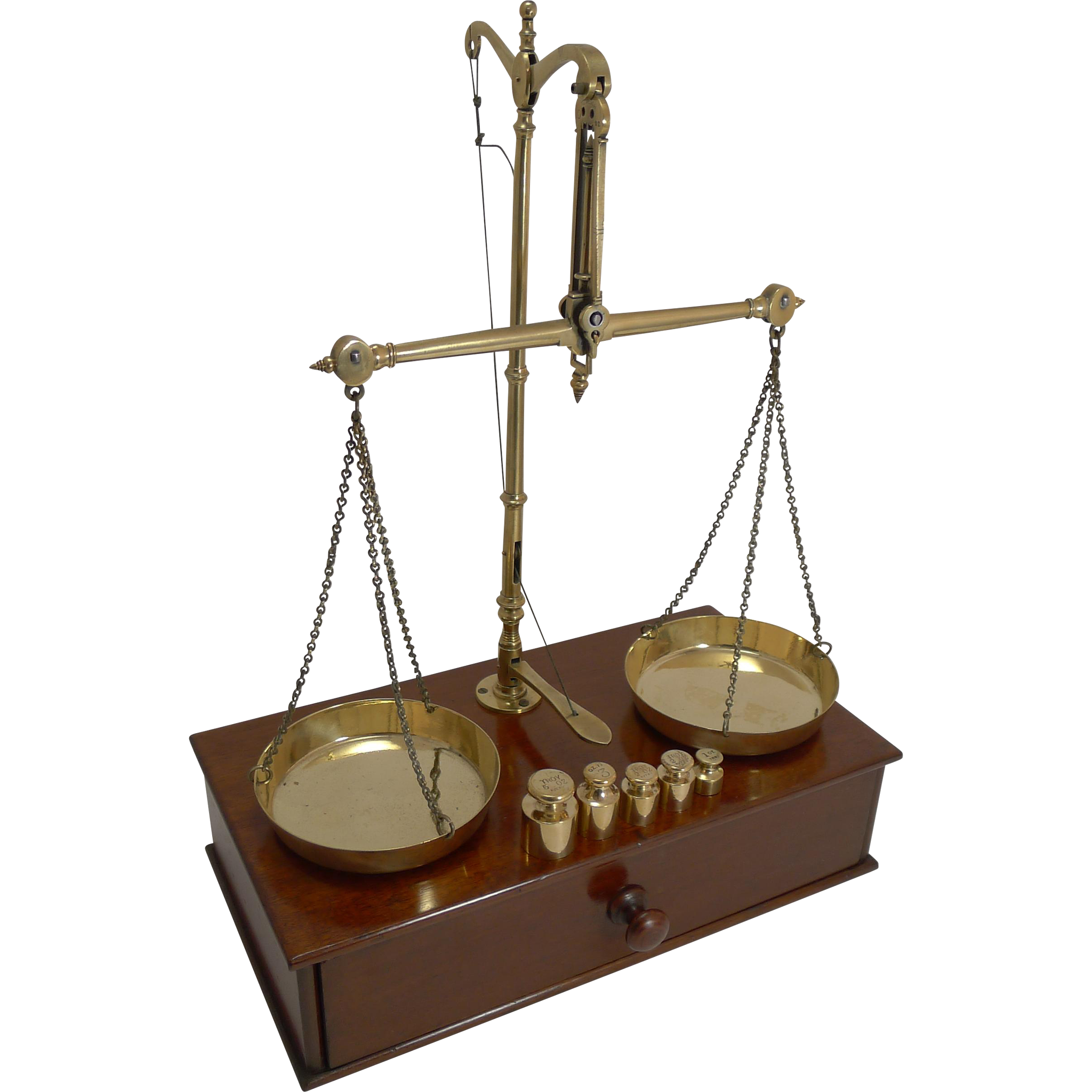 Large Antique English Travelling Apothecary Scales In Mahogany & Brass c.1880