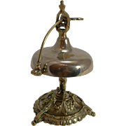 Unusual Antqiue French Brass Desk or Counter Bell - Cherub Column c.1880