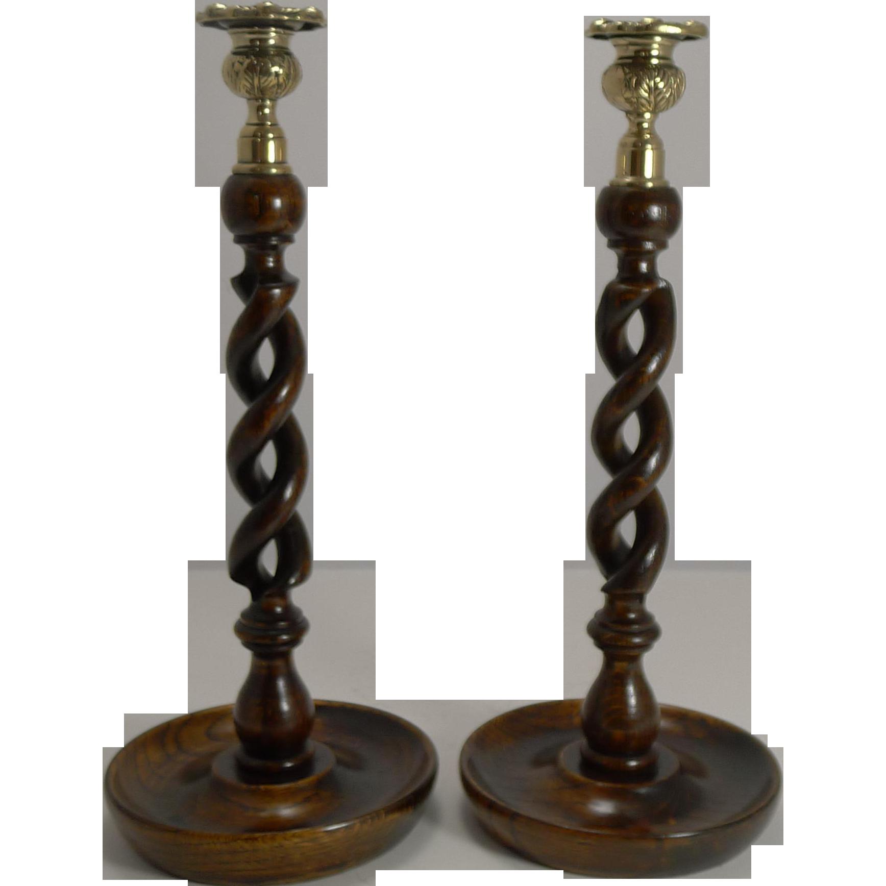 "Towering Pair 14"" Solid Oak Open Barley Twist Candlesticks - Brass Tops"