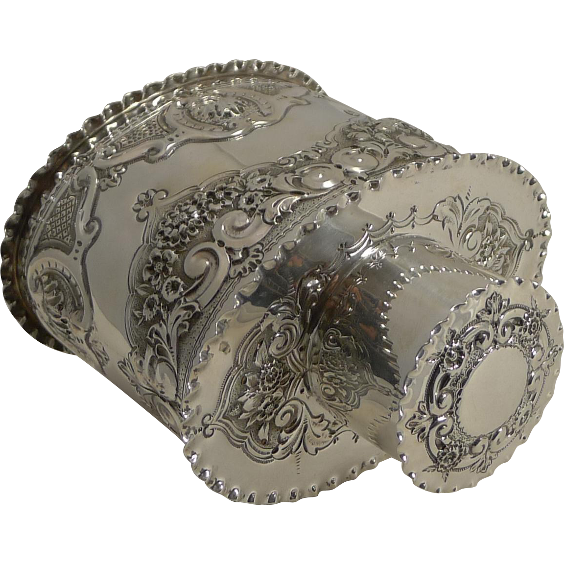 Top Notch Victorian English Sterling Siver Tea Caddy - 1894