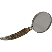 Silver and Antler Horn Handled Magnifying Glass - 1891