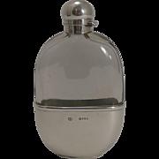 Handsome Antique English Sterling Silver Hip / Liquor Flask - London 1880