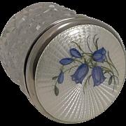 Stunning Antique English Enamel and Sterling Silver Lidded Jar - Bluebells - 1913