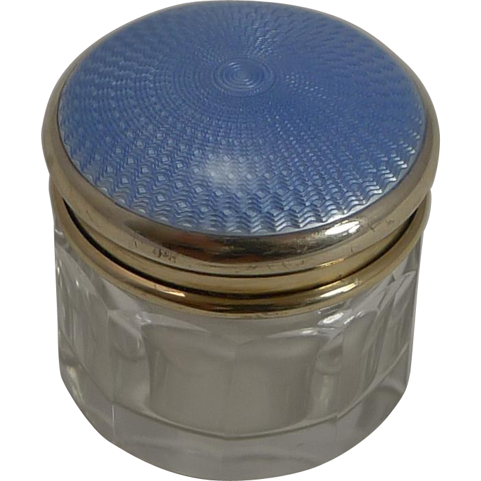 Small Vintage Silver Gilt and Guilloche Enamel Lidded Jar or Box