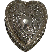 Antique English Sterling Silver Heart Pill Box - Bee - 1900