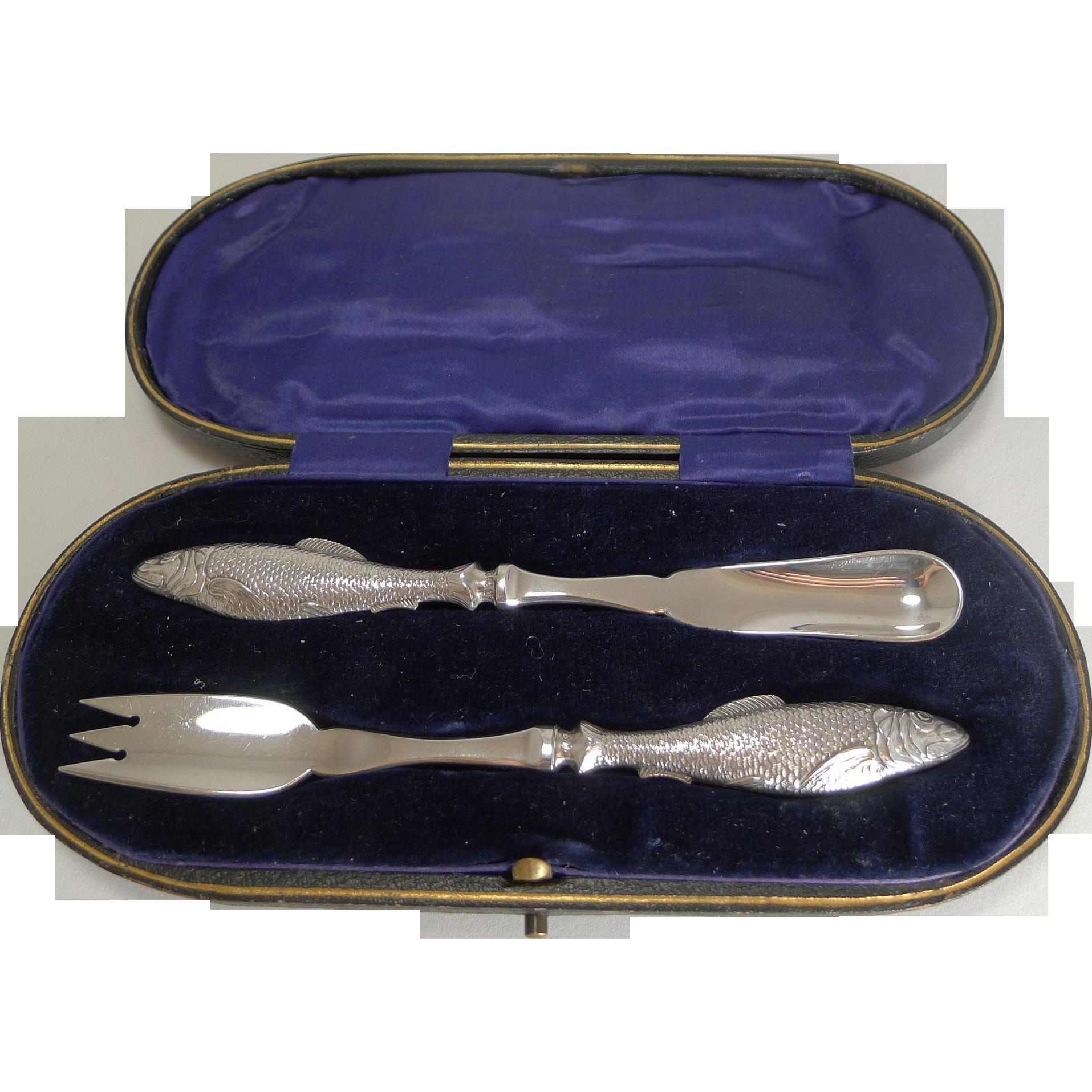 Rare Antique English Sterling Silver Fish Set - Harrods - 1912