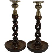 "Pair Antique English 10"" Oak Open Barley Twist Candlesticks - Brass Thistle Tops"