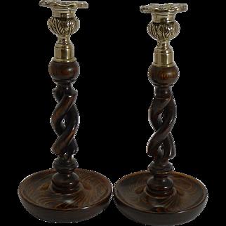 "Pair Antique English 10"" Oak Open Barley Twist Candlesticks - Brass Thistle Tops"