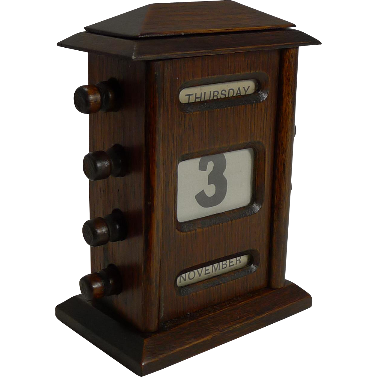 Small Antique English Oak Desk-Top Perpetual Calendar c.1900