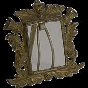 Miniature Brass Photograph Frame - Scottish thistles c.1900