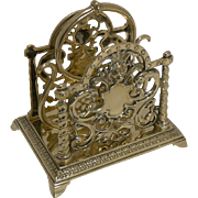 Handsome Antique English Brass Letter Rack / Holder c.1880