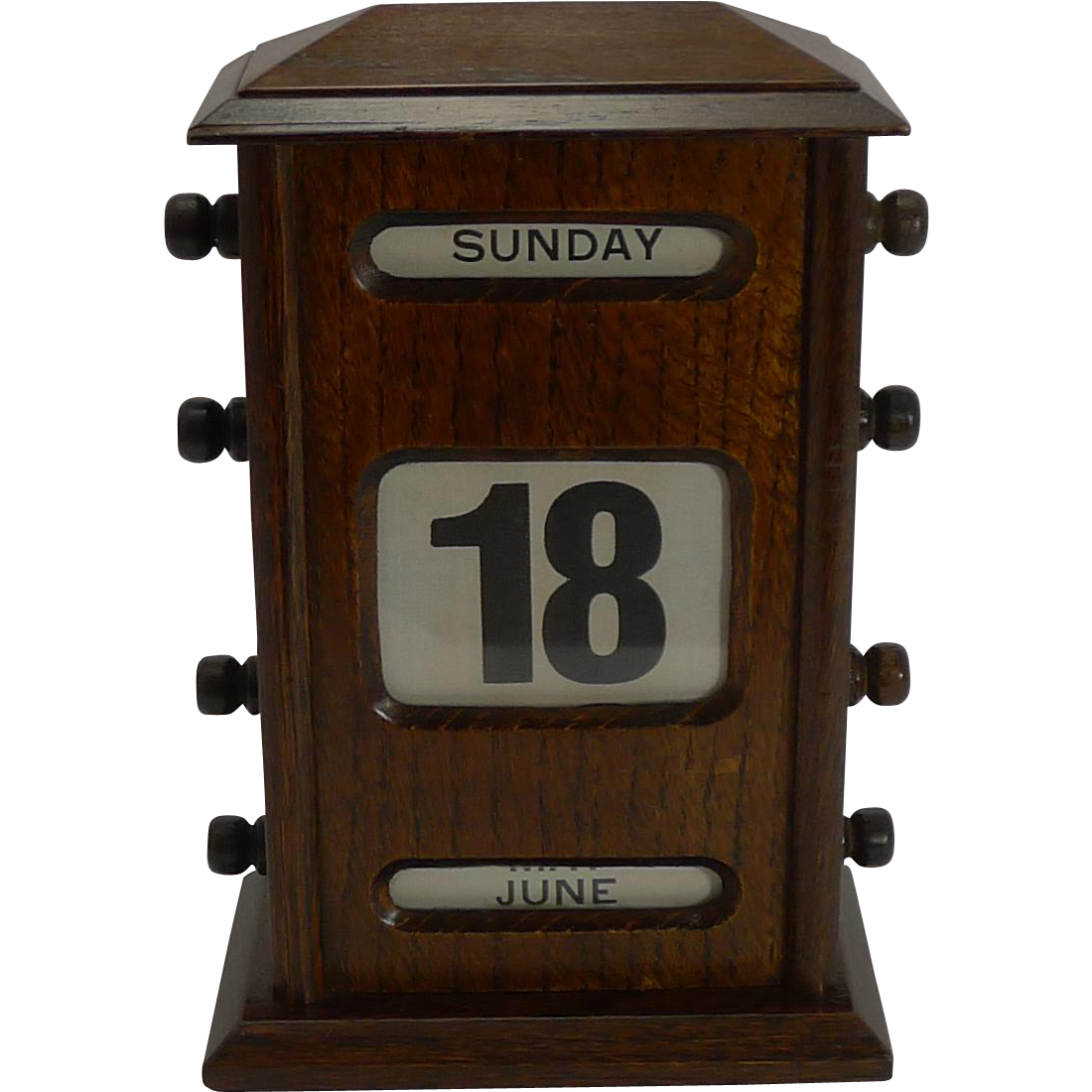 Antique English Oak Perpetual Desk Calendar c.1900