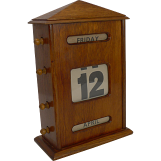 Very Large Antique English Mahogany Perpetual Calendar c.1915
