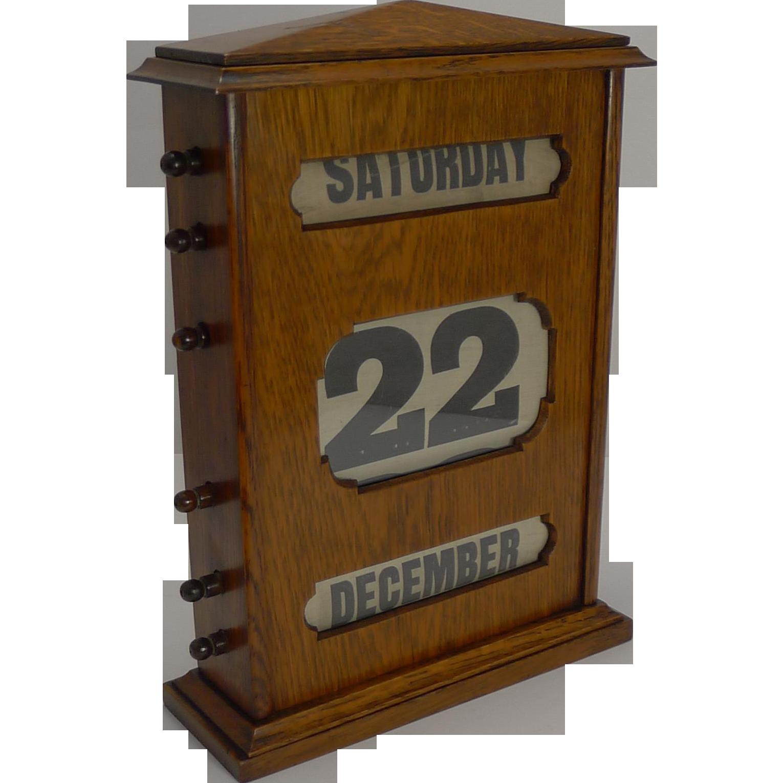 "Oversized Antique English Oak Perpetual Desk-Top Calendar c.1890 - 13 1/4"""