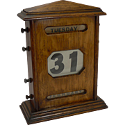 Very Large Antique English Solid Oak Perpetual Calendar c.1900