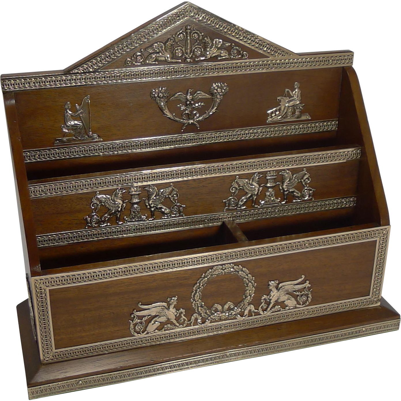 Magnificent and Grand French Brass Mounted Walnut Stationery Holder c.1890