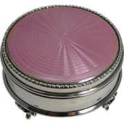 Finest Quality Large Sterling Silver & Pink Guilloche Enamel Jewelry Box - 1919